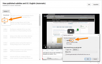 YouTube captions in Canvas 3 Borrowed from Randolph Macon College LibAnswers